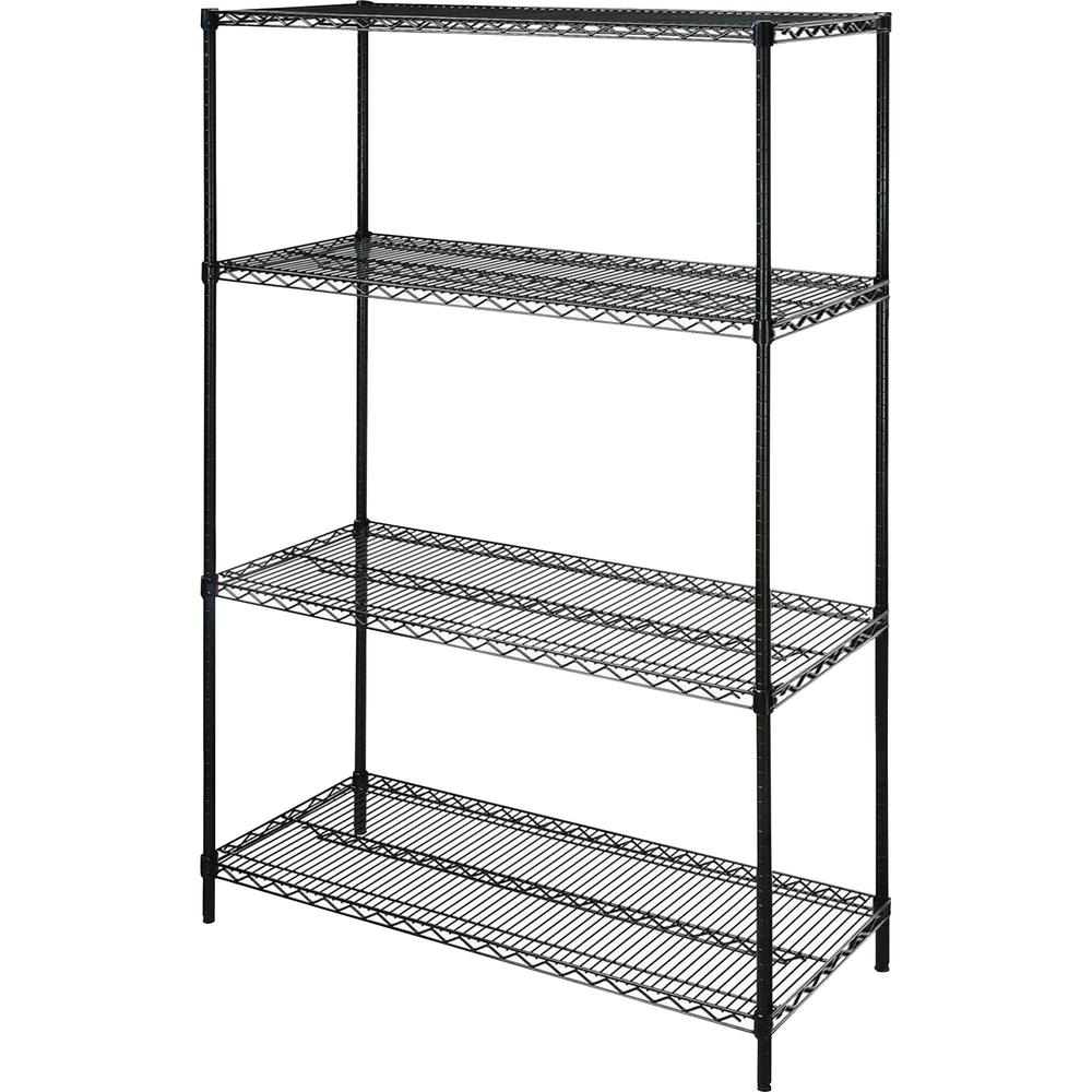 """Lorell Starter Shelving Unit - 48"""" x 18"""" x 72"""" - 4 x Shelf(ves) - 4000 lb Load Capacity - Black - Powder Coated - Steel - Assembly Required. Picture 1"""