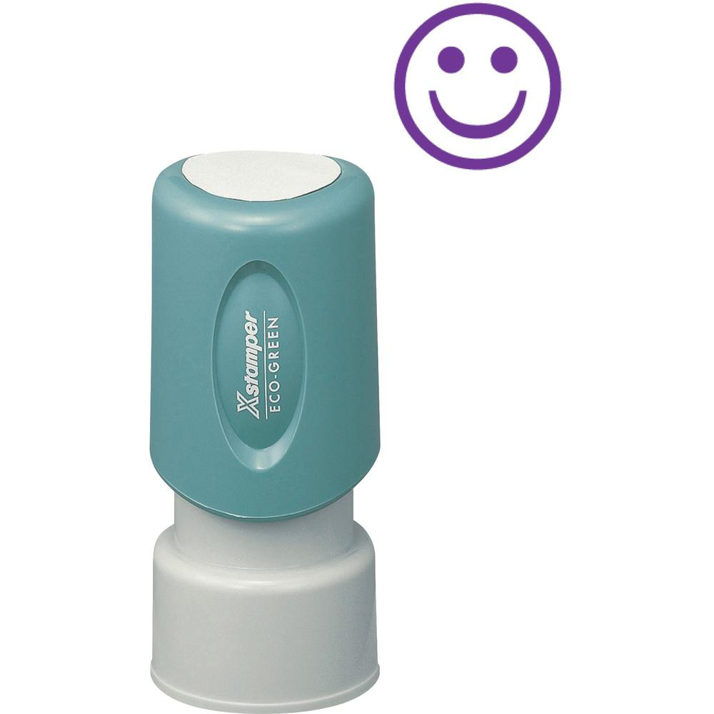"""Xstamper Pre-Inked Specialty Smiley Face Stamp - Message/Design Stamp - """"GOOD"""" - 0.63"""" Impression Diameter - 100000 Impression(s) - Blue - Recycled - 1 Each. Picture 1"""
