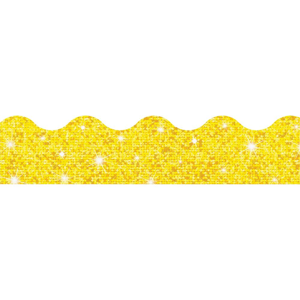 """Trend Sparkle Board Trimmers - (Rectangle Topped With Waves) Shape - Pin-up - Reusable, Precut - 0.10"""" Height x 2.25"""" Width x 390"""" Length - Yellow - Paper - 1 Pack. Picture 1"""