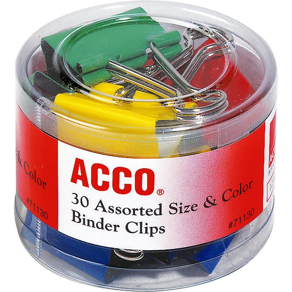 Acco Assorted Size Binder Clips - Reusable, Rust Resistant, Scratch Resistant - 30 / Pack - Assorted - Plastic, Tempered Steel. Picture 1
