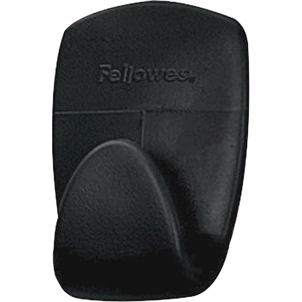Fellowes Partition Additions™ Hook - 2 lb (907.2 g) Capacity - for Key, Headphone, Garment - Plastic - Dark Graphite - 5 / Pack. Picture 1