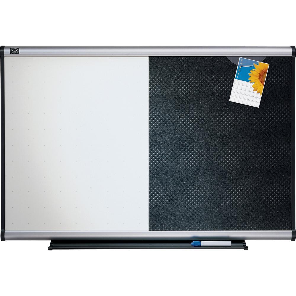 "Quartet Prestige Combination Board - 36"" (3 ft) Width x 24"" (2 ft) Height - Black Foam Surface - Silver Aluminum Frame - Horizontal - 1 / Each. Picture 1"