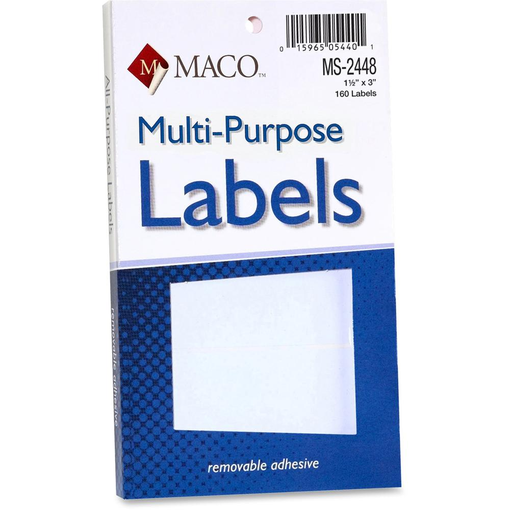 """MACO White Multi-Purpose Labels - 1 1/2"""" x 3"""" Length - Removable Adhesive - Rectangle - White - 160 / Pack. Picture 1"""