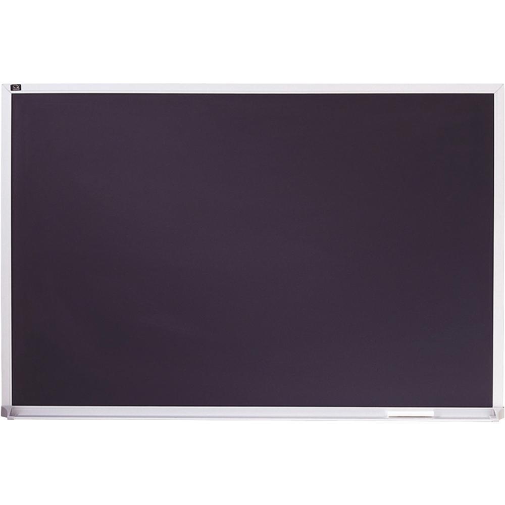 "Quartet DuraMax Porcelain Magnetic Chalkboard - 24"" (2 ft) Width x 36"" (3 ft) Height - Black Porcelain Surface - Silver Aluminum Frame - Horizontal - 1 Each. Picture 1"