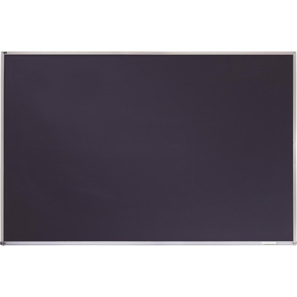 "Quartet DuraMax Porcelain Magnetic Chalkboard - 48"" (4 ft) Width x 36"" (3 ft) Height - Black Porcelain Surface - Silver Aluminum Frame - Horizontal - 1 / Each. Picture 1"