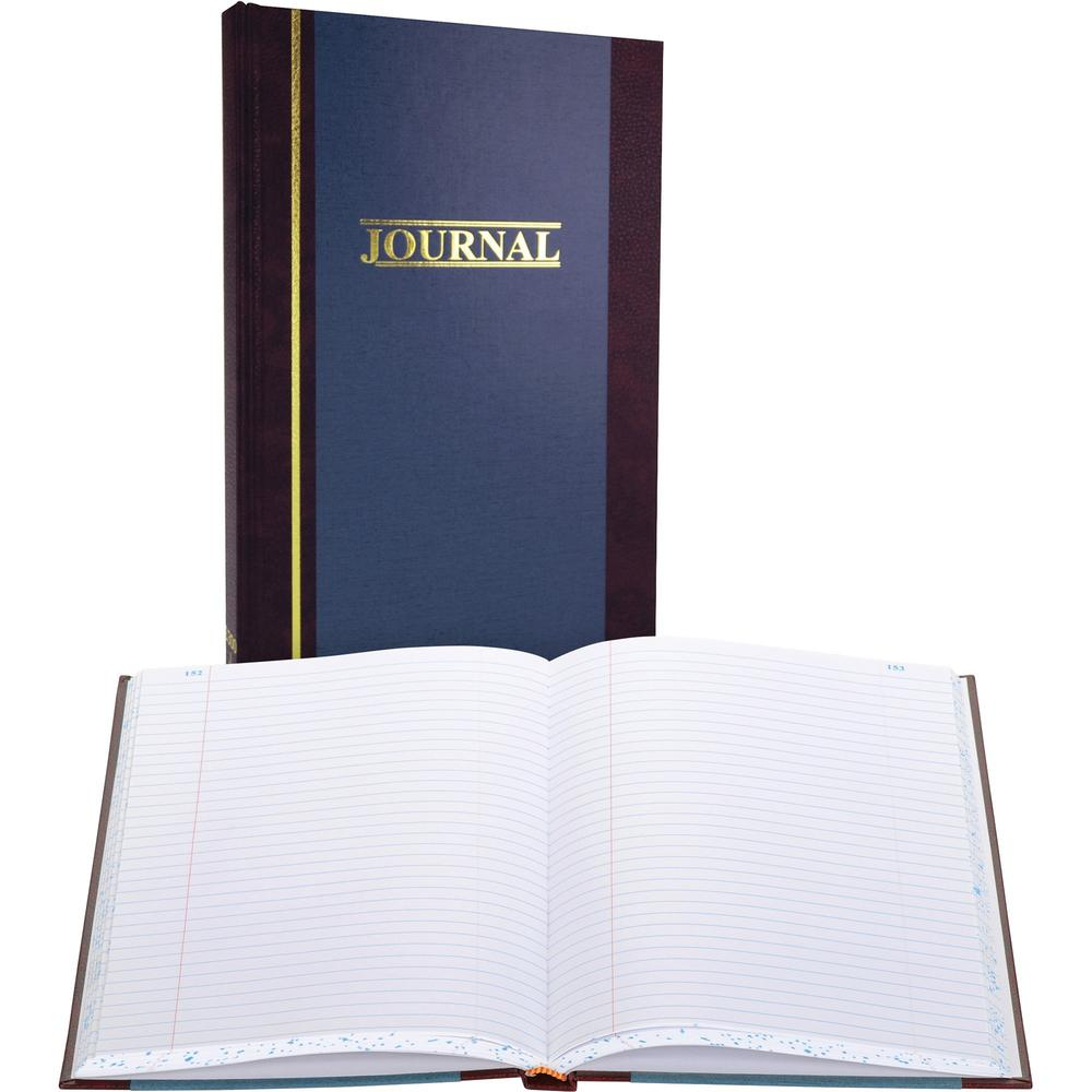 """Wilson Jones S300 Record Ruled Account Journal - 300 Sheet(s) - 7 1/4"""" x 11 3/4"""" Sheet Size - Blue - White Sheet(s) - Blue Cover - 1 Each. Picture 1"""