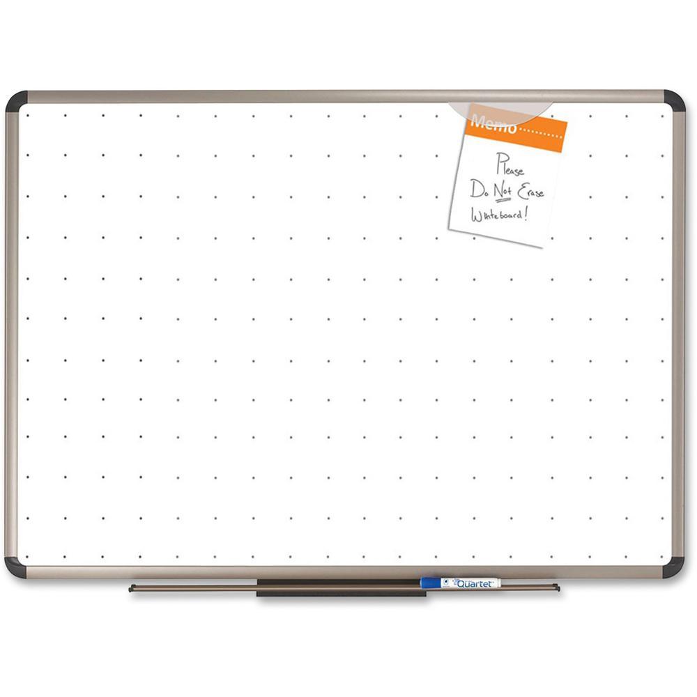 "Quartet® Prestige® Total Erase® Whiteboard - 72"" (6 ft) Width x 48"" (4 ft) Height - White Surface - Titanium Aluminum Frame - Horizontal - 1 Each. Picture 1"