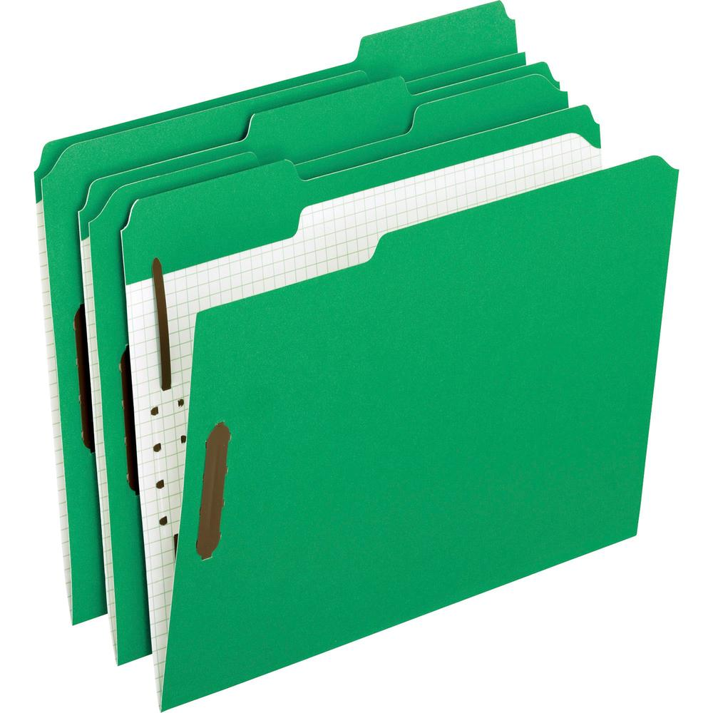 """Pendaflex 1/3 Tab Cut Letter Recycled Top Tab File Folder - 8 1/2"""" x 11"""" - 2"""" Expansion - 2 Fastener(s) - 1"""" Fastener Capacity for Folder - Top Tab Location - Assorted Position Tab Position - Green - . Picture 1"""