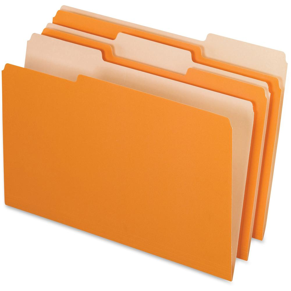 "Pendaflex Legal Size Interior File Folders - Legal - 8 1/2"" x 14"" Sheet Size - 1/3 Tab Cut - Orange - Recycled - 100 / Box. Picture 1"