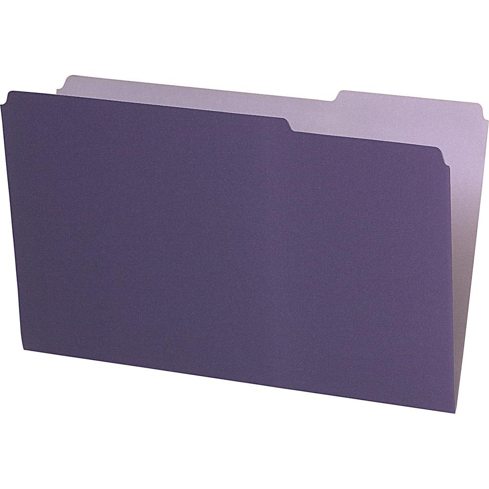 """Pendaflex Legal Size Interior File Folders - Legal - 8 1/2"""" x 14"""" Sheet Size - 1/3 Tab Cut - Violet - Recycled - 100 / Box. Picture 1"""