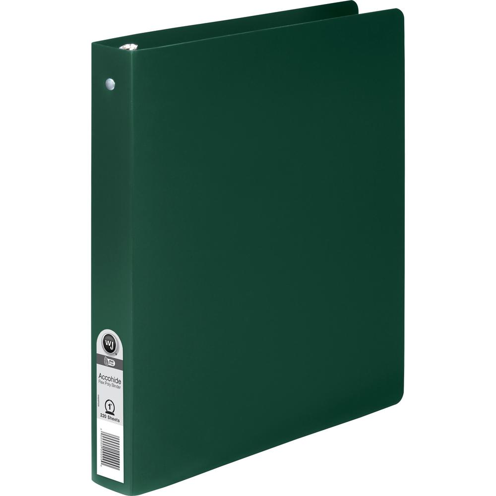 "Wilson Jones ACCOHIDE Binder - 1"" Binder Capacity - Letter - 8 1/2"" x 11"" Sheet Size - 175 Sheet Capacity - Round Ring Fastener(s) - 35 pt. Binder Thickness - Polypropylene - Dark Green - Eco-friendly. Picture 1"