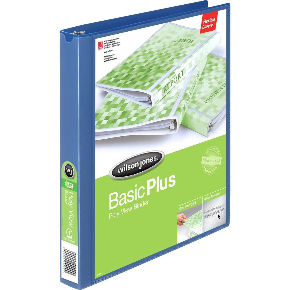 "Wilson Jones Flex Poly View Binder - 1"" Binder Capacity - Letter - 8 1/2"" x 11"" Sheet Size - 175 Sheet Capacity - Round Ring Fastener(s) - 1 Internal Pocket(s) - Polypropylene - Blue - PVC-free, Tear . Picture 1"