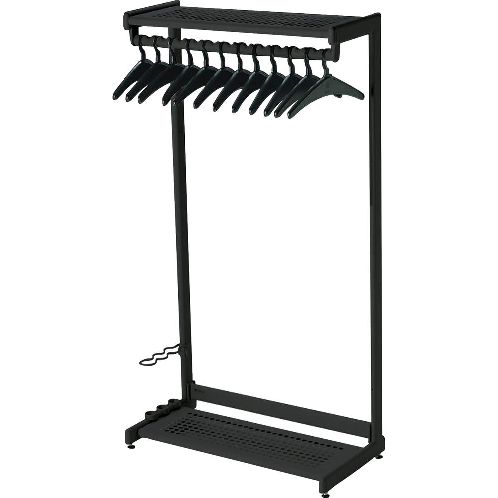 """Quartet Two-Shelf Garment Rack - Freestanding - 12 Hangers Included - Contemporary/Modern - 36"""" Width x 61.5"""" Height - Black. Picture 1"""