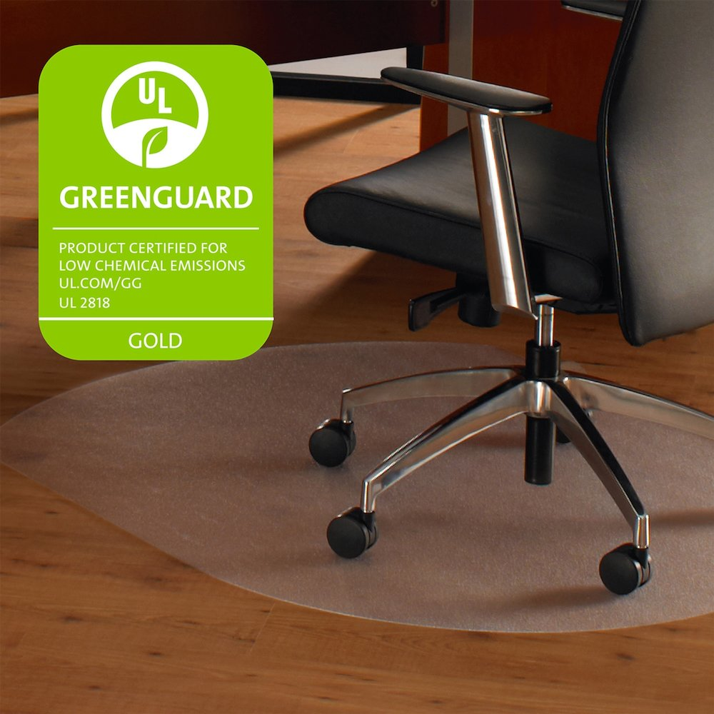 """Cleartex Ultimat Chair Mat, Contoured Shape, Clear Polycarbonate, For Hard Floor, Size 39"""" x 49"""". Picture 1"""
