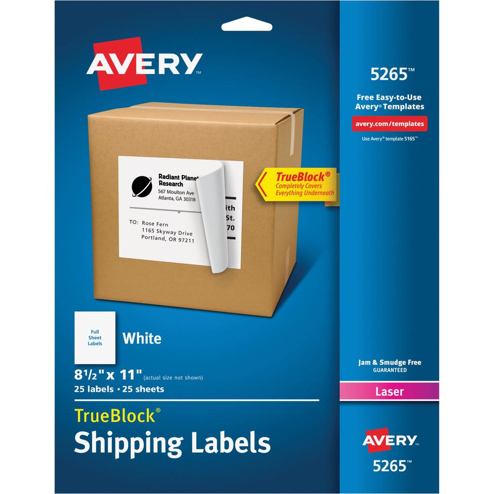 """Avery® Shipping Labels - TrueBlock - 8 1/2"""" x 11"""" Length - Permanent Adhesive - Rectangle - Laser, Inkjet - White - 1 / Sheet - 25 / Pack. Picture 1"""