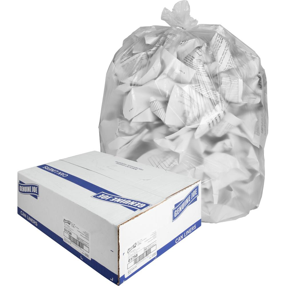 """Genuine Joe High-density Can Liners - Large Size - 45 gal - 40"""" Width x 48"""" Length x 0.63 mil (16 Micron) Thickness - High Density - Clear - Resin - 250/Carton - Office Waste, Industrial Trash. Picture 1"""