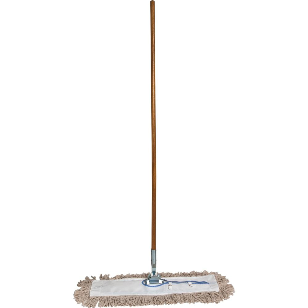 """Genuine Joe Dust Mop Complete Combo - 24"""" Cotton Head - 60"""" x 0.94"""" Wood Handle - Swivel Head, Lightweight, Chrome Plated, Absorbent, Rust Resistant, Reinforced - 1 Each. Picture 1"""