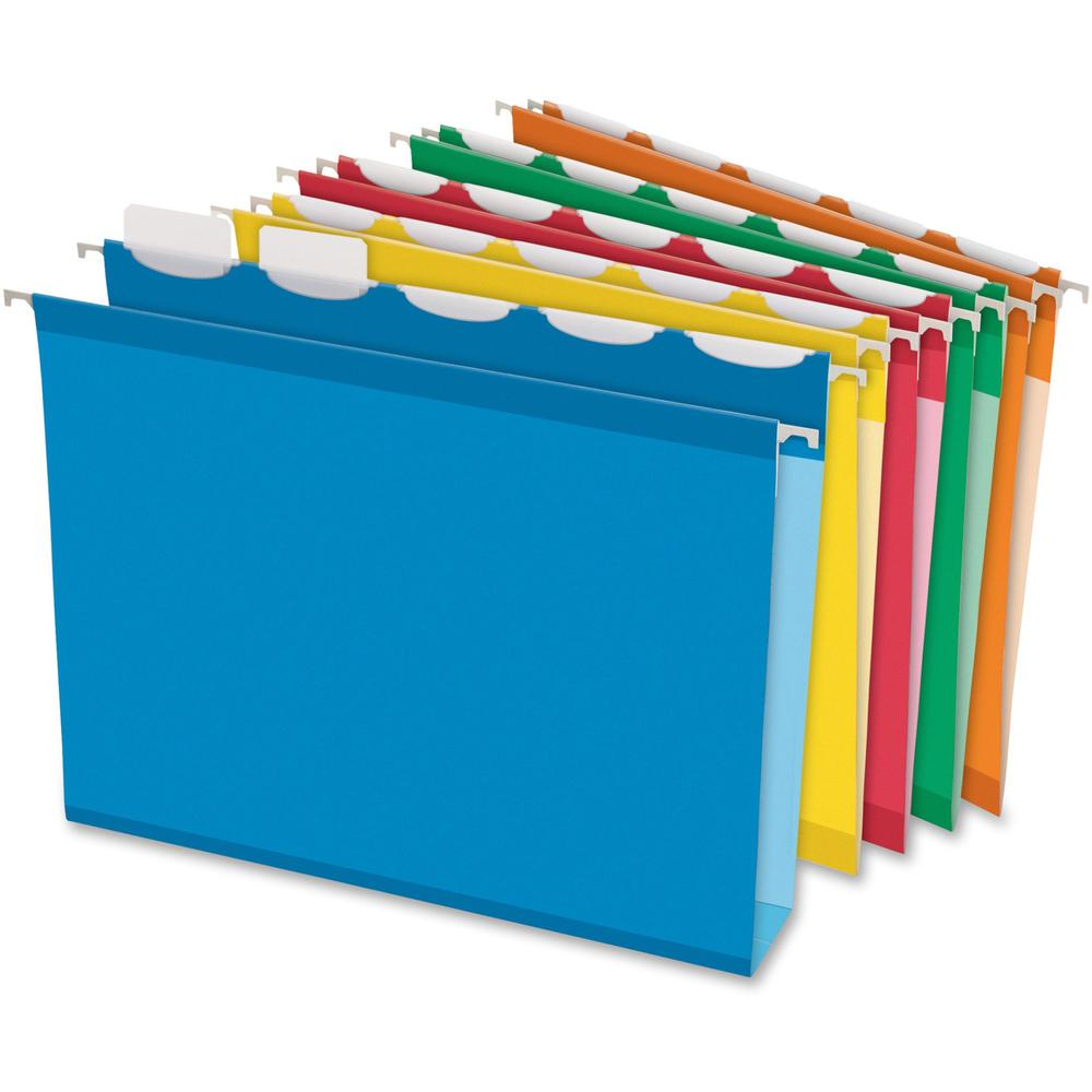 "Pendaflex Ready-Tab Assorted Hanging Folders - Letter - 8 1/2"" x 11"" Sheet Size - 2"" Expansion - Ring Fastener - 2"" Fastener Capacity for Folder - Pressboard - Assorted - Recycled - 20 / Box. Picture 1"