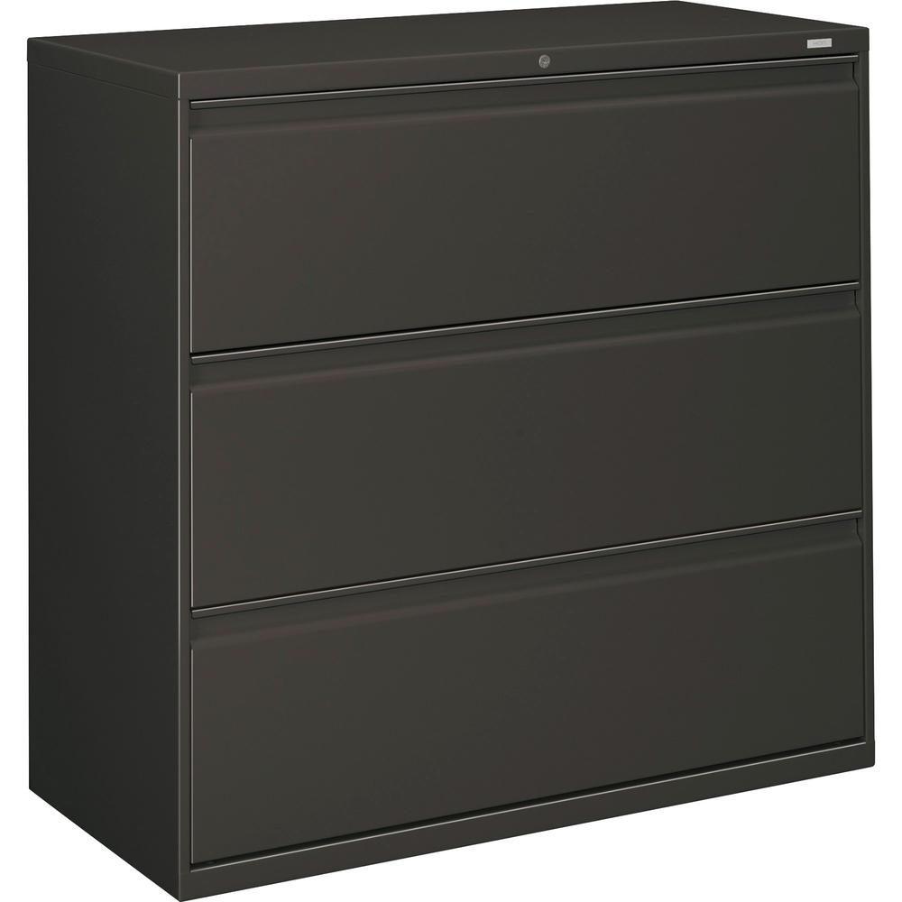 """HON Brigade 800 Series 3-Drawer Lateral - 42"""" x 18"""" x 39.1"""" - 3 x Drawer(s) for File - A4, Legal, Letter - Interlocking, Durable, Label Holder, Leveling Glide, Recessed Handle, Ball-bearing Suspension. Picture 1"""