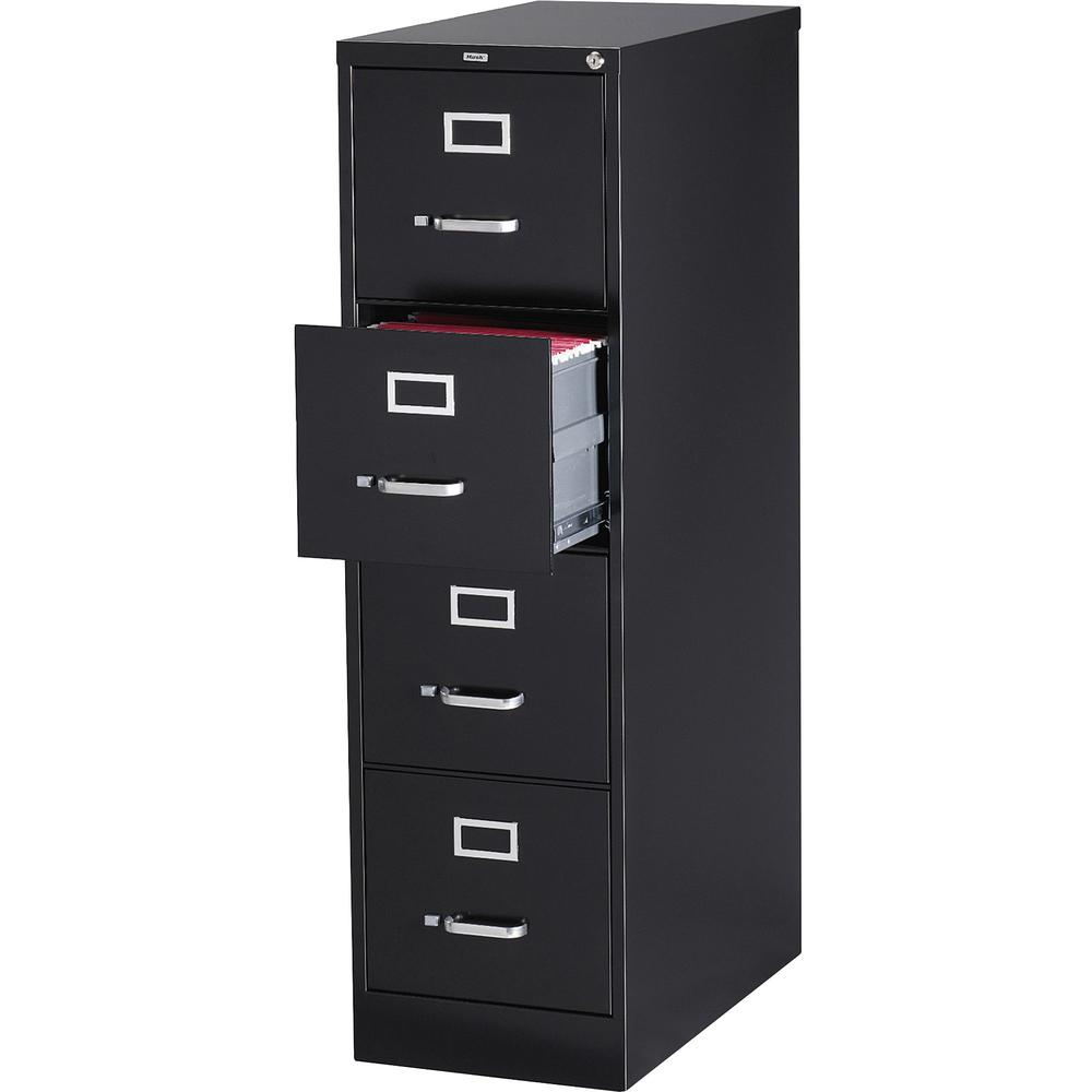 "Lorell Vertical file - 4-Drawer - 15"" x 26.5"" x 52"" - 4 x Drawer(s) for File - Letter - Vertical - Security Lock, Ball-bearing Suspension, Heavy Duty - Black - Steel - Recycled. Picture 1"