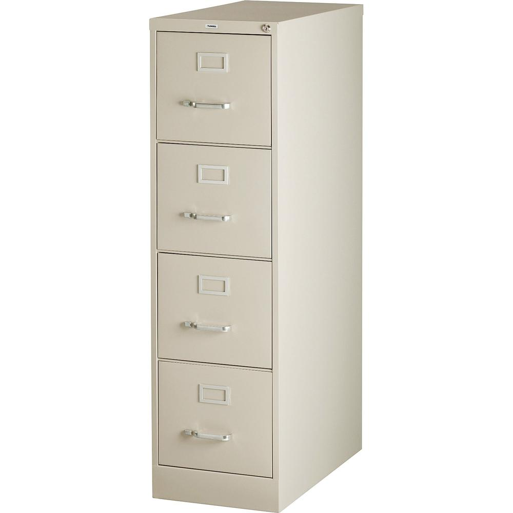"""Lorell Vertical file - 4-Drawer - 15"""" x 26.5"""" x 52"""" - 4 x Drawer(s) for File - Letter - Vertical - Security Lock, Ball-bearing Suspension, Heavy Duty - Putty - Steel - Recycled. Picture 1"""