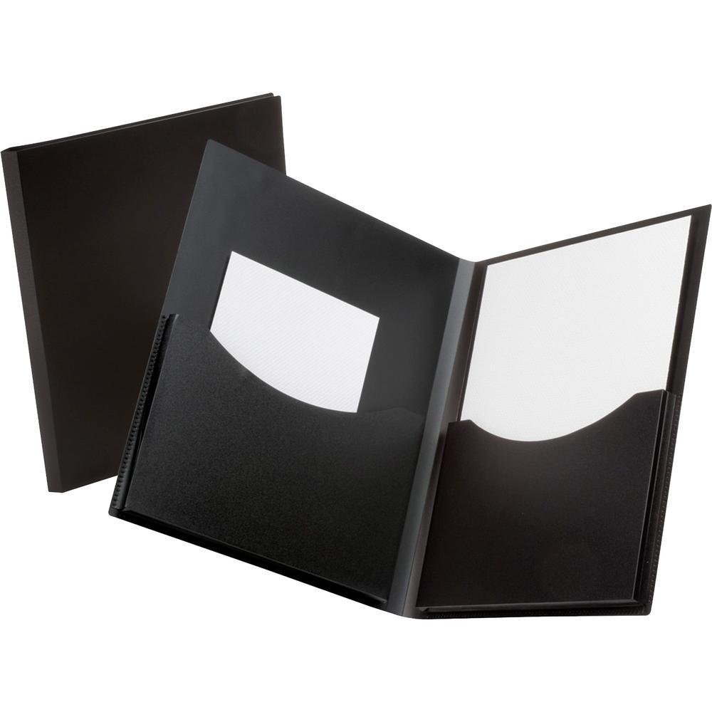 "Oxford Double Stuff Letter Pocket Folder - 8 1/2"" x 11"" - 200 Sheet Capacity - 2 Pocket(s) - Polypropylene - Black - 1 Each. Picture 1"