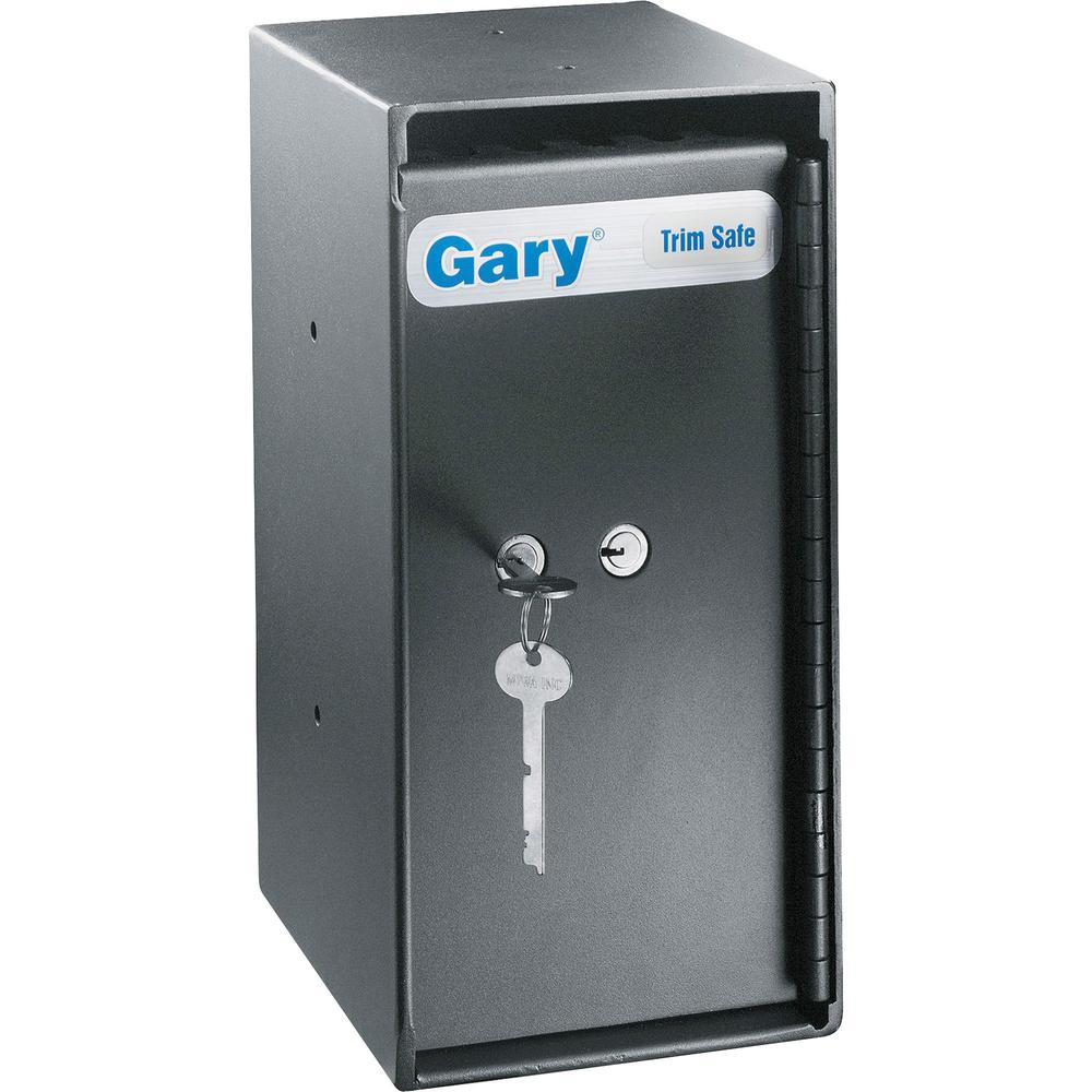 "FireKing Trim Safe with Cash Drop Slots - 3 ft³ - Key Lock - Internal Size 11"" x 5"" x 6"" - Overall Size 12"" x 6"" x 7"" - Black - Steel. Picture 1"
