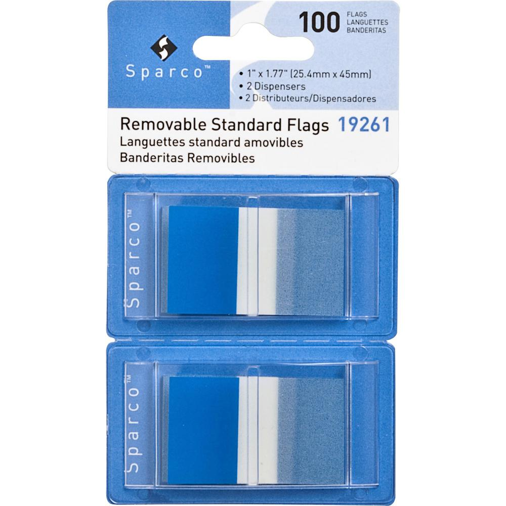 """Sparco Removable Standard Flags in Dispenser - 100 x Blue - 1.75"""" x 1"""" - Rectangle - Blue - See-through, Self-adhesive, Removable - 100 / Pack. Picture 1"""