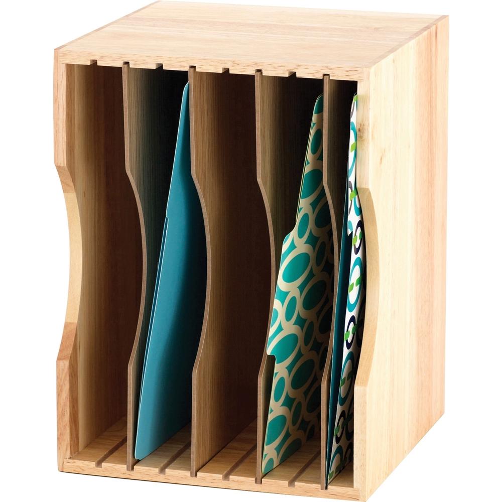 "Safco Wood Stackable Sorters - 5 Compartment(s) - 4 Divider(s) - 9.5"" Height x 12.8"" Width x 9.3"" Depth - Desktop - Light Oak - Wood - 1Each. Picture 1"