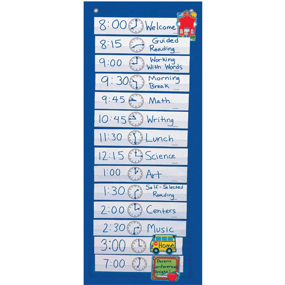 """Carson Dellosa Education Scheduling Pocket Chart - 14 Pocket(s) - 33"""" Height x 13"""" Width - Flame Retardant, Wall Mountable - Blue - Nylon - 1 Each. Picture 1"""