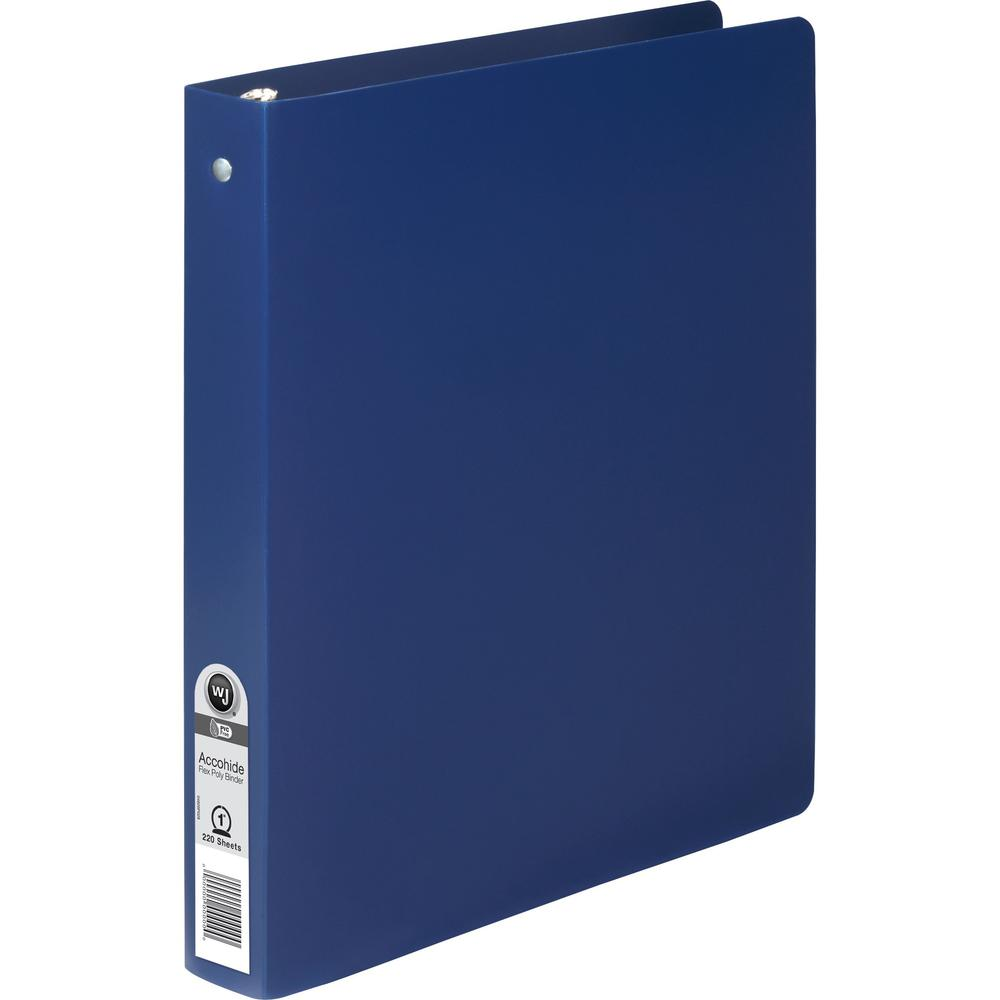 "Wilson Jones ACCOHIDE Binder - 1"" Binder Capacity - Letter - 8 1/2"" x 11"" Sheet Size - 175 Sheet Capacity - Round Ring Fastener(s) - 35 pt. Binder Thickness - Polypropylene - Blue - Eco-friendly, PVC-. Picture 1"