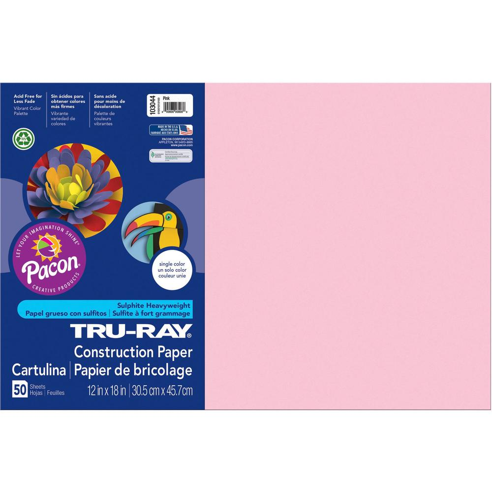 """Tru-Ray Heavyweight Construction Paper - 18"""" x 12"""" - 50 / Pack - Pink - Sulphite. Picture 1"""
