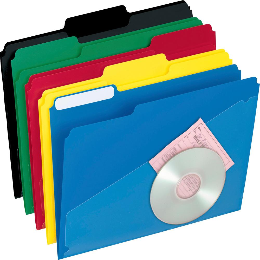 "Pendaflex 1/3 Tab Cut Letter Top Tab File Folder - 8 1/2"" x 11"" - Top Tab Location - Poly - Assorted - 25 / Box. Picture 1"