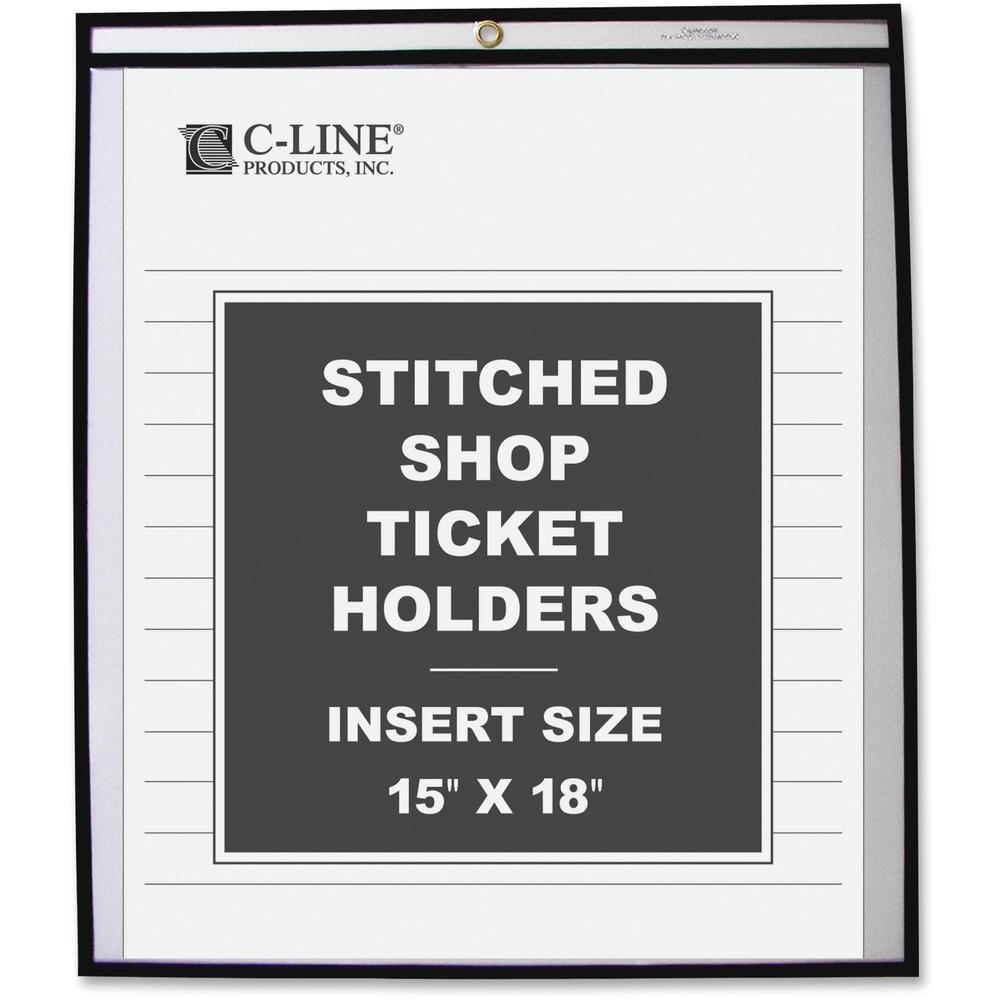C-Line Shop Ticket Holders, Stitched - Both Sides Clear, 15 x 18, 25/BX, 46158. Picture 1