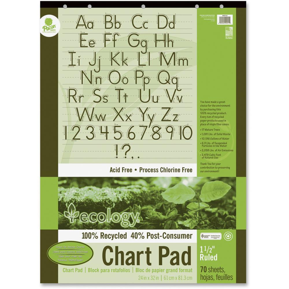 Ecology Recycled Chart Pad - 70 Sheets - Strip - Front Ruling ...