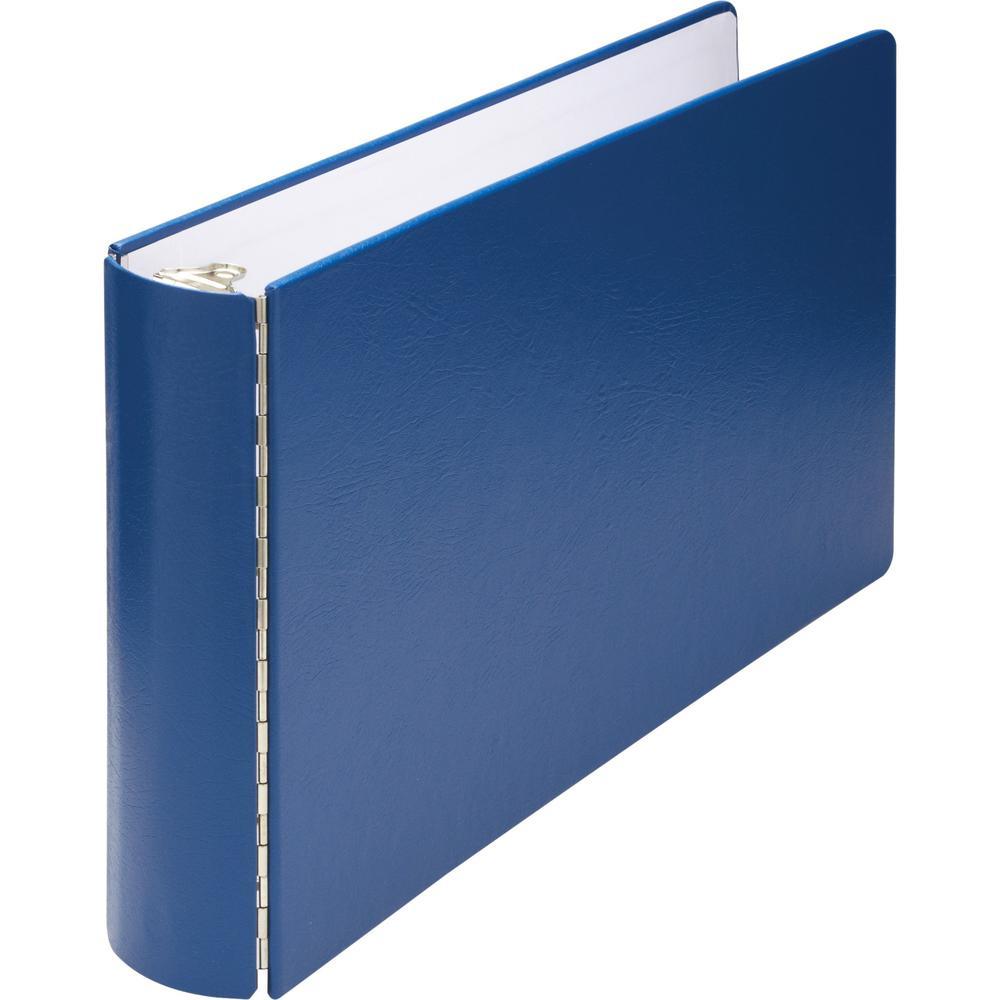 "Wilson Jones DublLock Casebound Binder - 1"" Binder Capacity - Ledger - 11"" x 17"" Sheet Size - 175 Sheet Capacity - 3 x Round Ring Fastener(s) - Vinyl-covered Chipboard - Blue - Durable, Heavyweight, O. Picture 1"