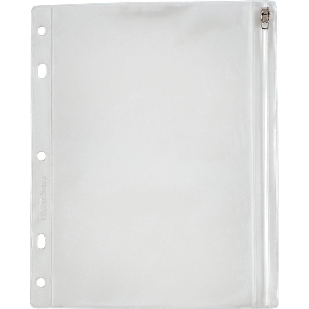 "Oxford Zipper Binder Pockets - 10 1/2"" x 8"" Sheet - Ring Binder - Rectangular - Clear, White - Poly - 1 Each. Picture 1"