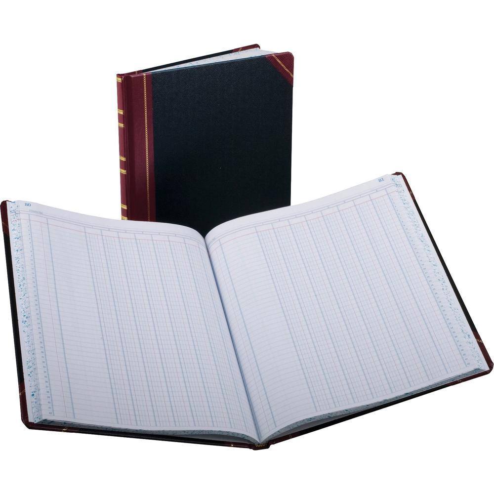"Boorum & Pease Boorum B&P 1602 1/2 Series Single Page Columnar Books - 75 Sheet(s) - Thread Sewn - 9 7/8"" x 11 15/16"" Sheet Size - 8 Columns per Sheet - Black - White Sheet(s) - Red, Blue Print Color . Picture 1"