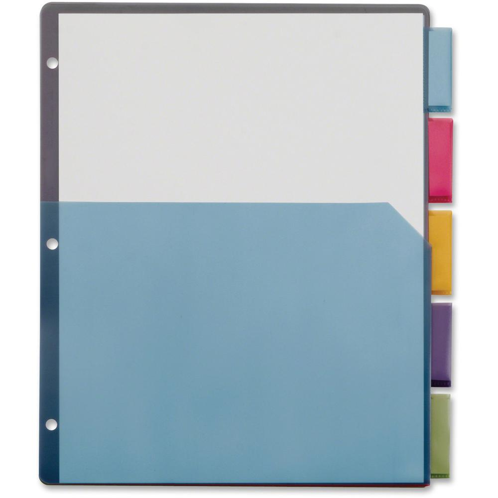"""Cardinal Extra-tough Poly Dividers - 20 Tab(s) - 5 Tab(s)/Set - 8.5"""" Divider Width x 11"""" Divider Length - Letter - 3 Hole Punched - Multicolor Poly Divider - Multicolor Poly Tab(s) - 4 / Pack. Picture 1"""