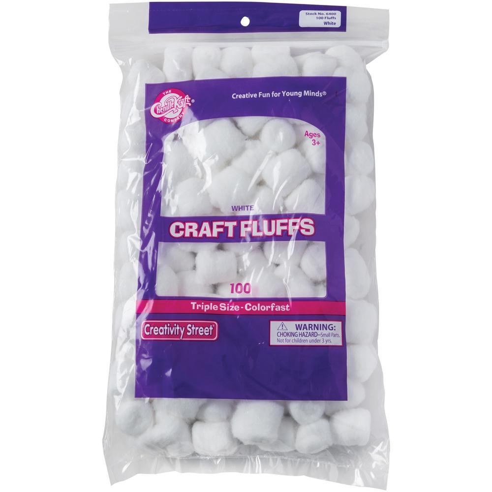 Creativity Street White Craft Fluffs - Decoration, Painting - 100 Piece(s) - 100 / Pack - White. Picture 1