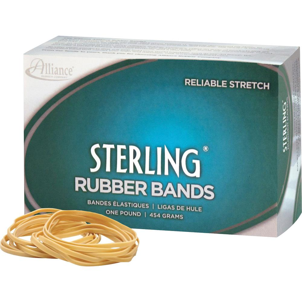 "Alliance Rubber 24185 Sterling Rubber Bands - Size #18 - Approx. 1900 Bands - 3"" x 1/16"" - Natural Crepe - 1 lb Box. Picture 1"