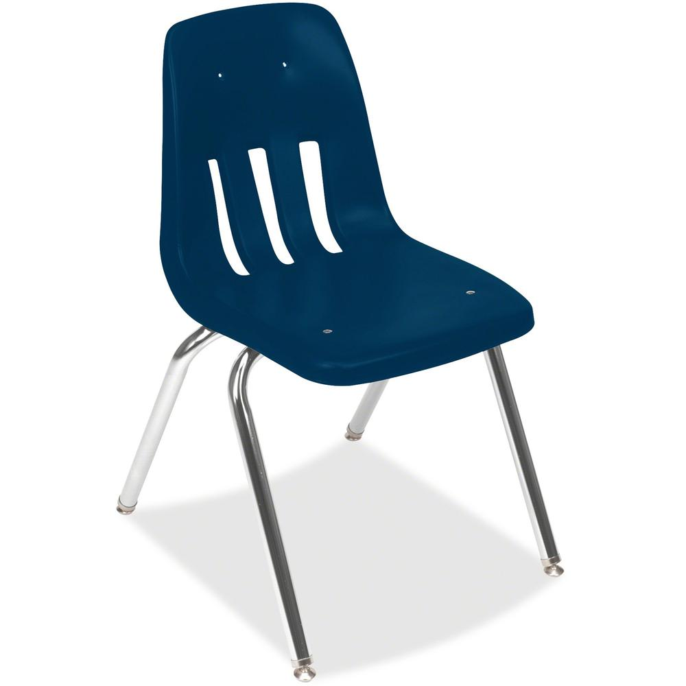 Virco 9000 Series Classroom Stacking Chairs - Chrome Steel Frame - Four-legged Base - Blue - Plastic - 4 / Carton. Picture 1