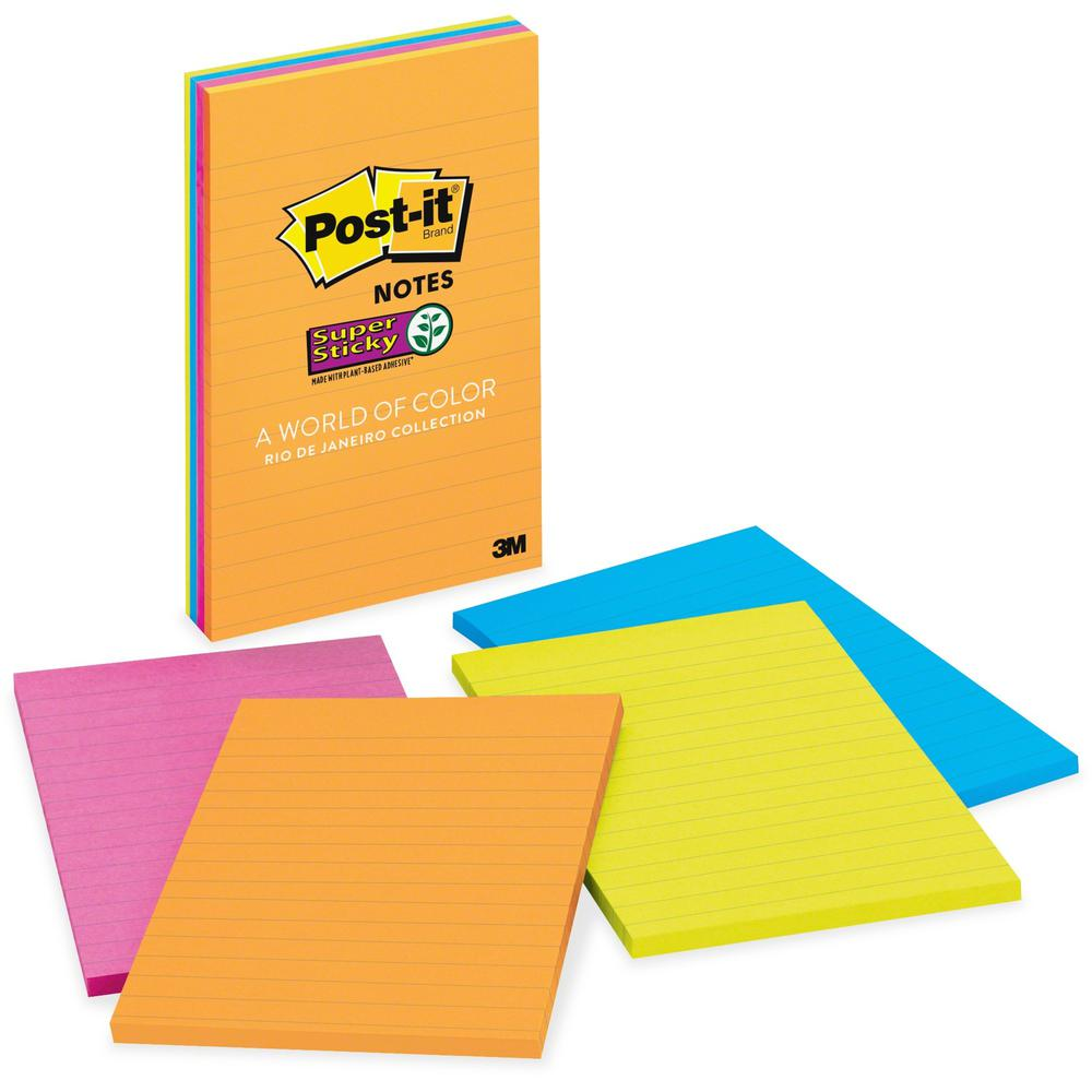 Post It Super Sticky Notes 4 In X 6 In Rio De Janeiro Color Collection Lined 180 4 Quot X 6