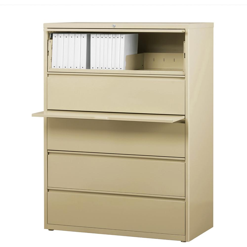 "Lorell Lateral File - 5-Drawer - 42"" x 18.6"" x 67.7"" - 5 x Drawer(s) for File - Legal, Letter, A4 - Lateral - Rust Proof, Leveling Glide, Interlocking, Ball-bearing Suspension, Label Holder - Putty - . Picture 1"