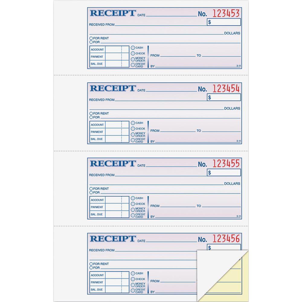 adams moneyrent receipt book 200 sheets tape bound 2 part carbonless copy 7
