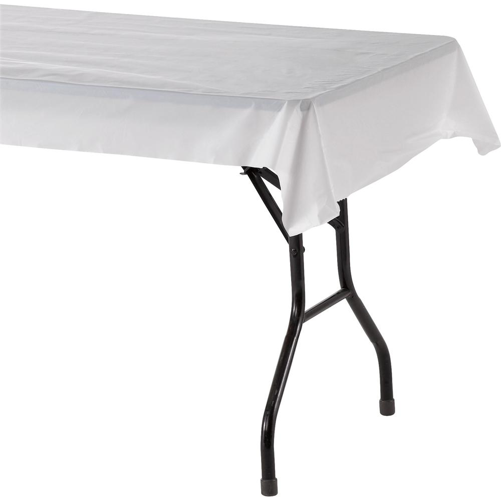 """Genuine Joe Banquet-size Plastic Tablecover - 300 ft Length x 40"""" Width - Plastic - White - 1 Roll. Picture 1"""