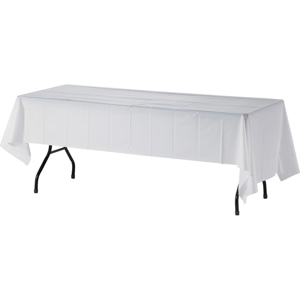 "Genuine Joe Plastic Rectangular Table Covers - 108"" Length x 54"" Width - Plastic - White - 6 / Pack. Picture 1"