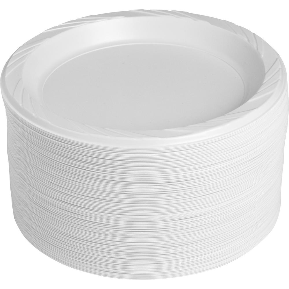 "Genuine Joe Reusable Plastic White Plates - 9"" Diameter Plate - Plastic - White - 125 Piece(s) / Pack. The main picture."