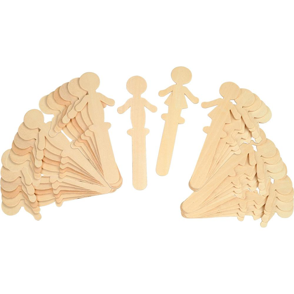 """Creativity Street People Shaped Wood Craft Sticks - 2""""5.38"""" - 1 Pack - Natural - Wood. Picture 1"""