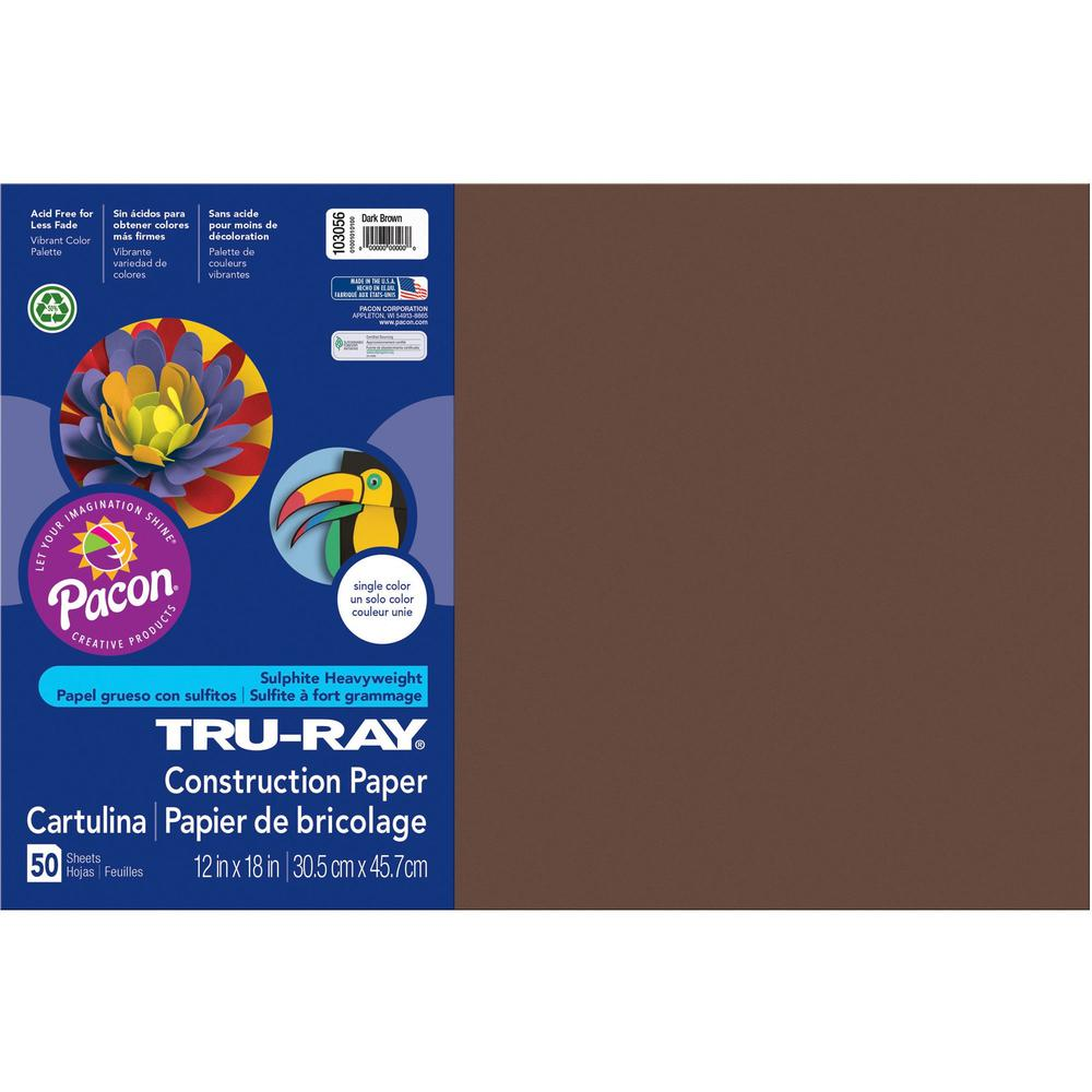 """Tru-Ray Heavyweight Construction Paper - 18"""" x 12"""" - 76 lb Basis Weight - 50 / Pack - Dark Brown - Sulphite. Picture 1"""